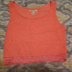 Orange Cropped Lace Cami